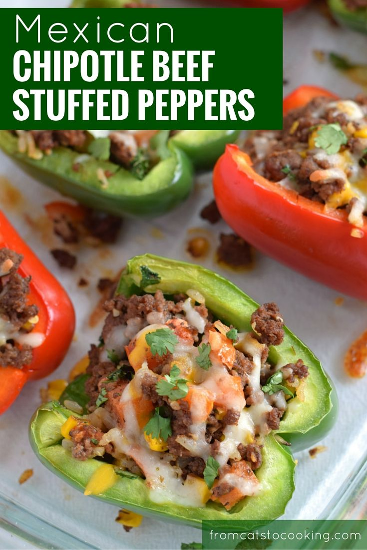 Made with rice, corn and Mexican spices such as cumin, chipotle powder and oregano, this Mexican Chipotle Beef Stuffed Peppers recipe makes the perfect weeknight meal. Better yet, they also make great leftovers for lunch the next day. It's also gluten free and paleo friendly! // fromcatstocooking.com