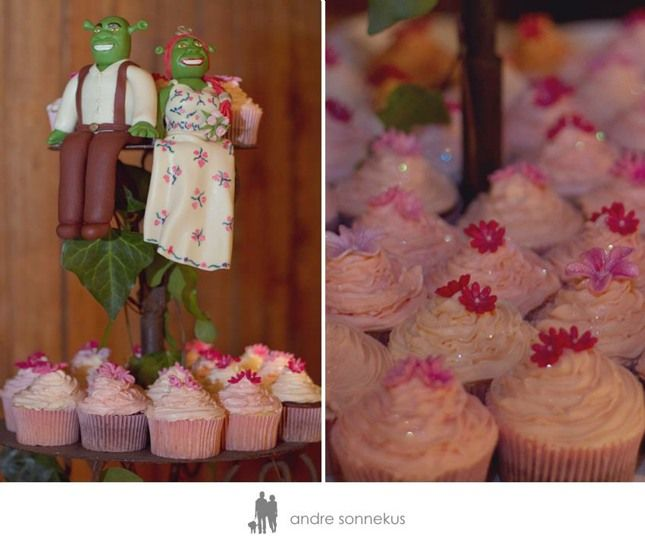 Shrek and Fiona Topper with Cupcakes