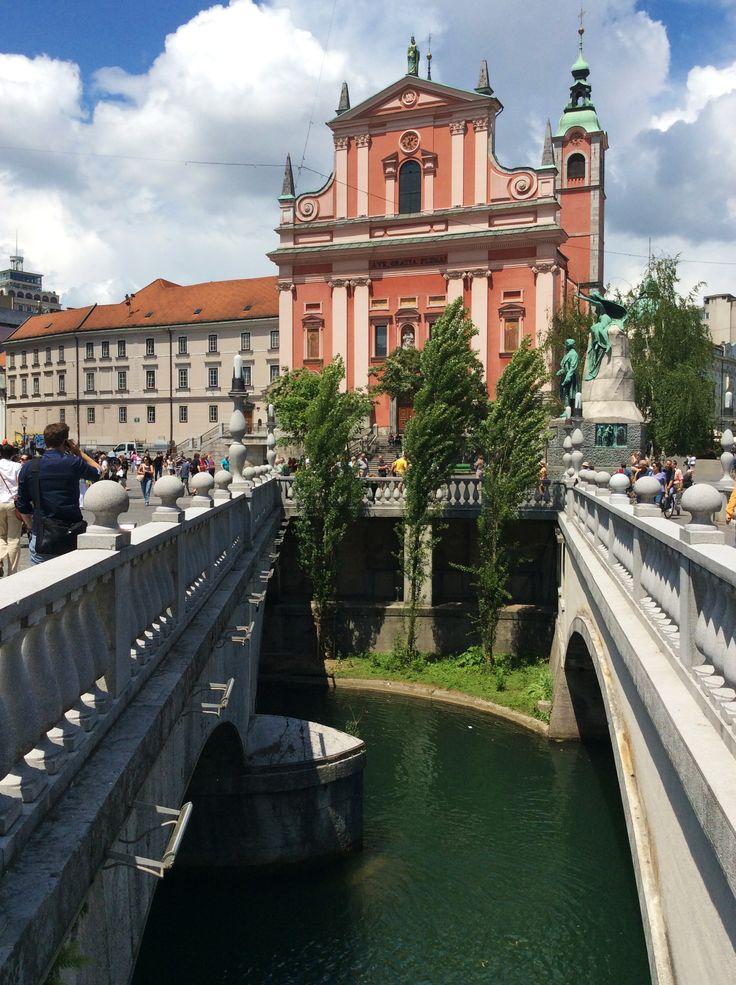 Plečnik's triple bridge, Ljubljana; Slovenia