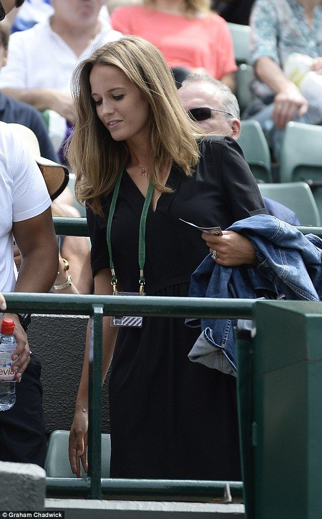 Tennis champ Andy Murray's wife Kim was naturally in attendance at Wimbledon and accessorised her simple black dress with a personalised 'K' necklace