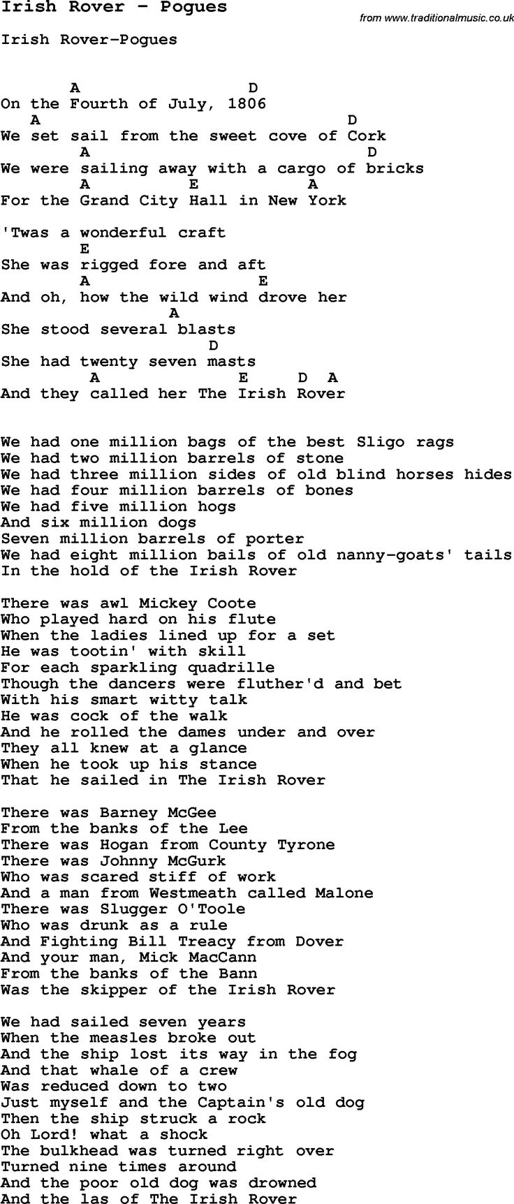 Lyrics for irish rover