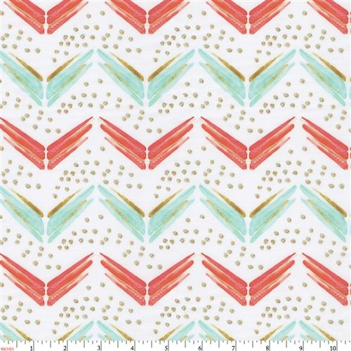 Coral and Teal Chevron Fabric by the Yard | Coral Fabric | Carousel Designs
