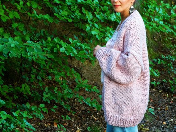 Pure Chunky Cardigan  Pink Quartz  Oversized Loose by Nudakillers