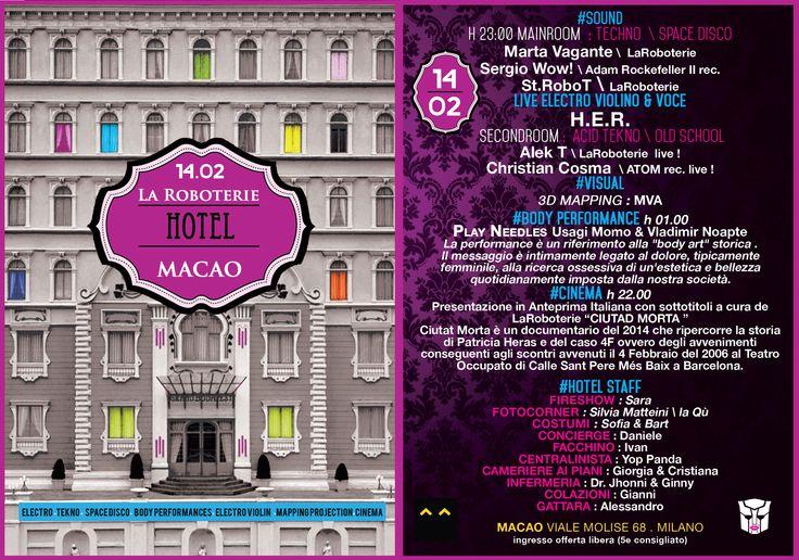 LaRoboterie Hotel M^C^O SABATO 14 FEBBRAIO https://www.facebook.com/events/770352859699786/