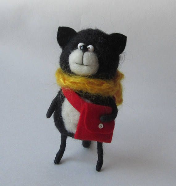 Felted cat Animal felted pet Wool decor animal Toy wool cat