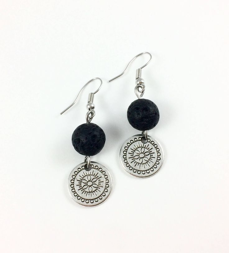 Excited to share the latest addition to my #etsy shop: Silver Flower Diffuser Earrings, Lava Stone Essential Oil Diffuser Earrings, Mandala Lava Stone Earrings, Flower Aromatherapy Earrings