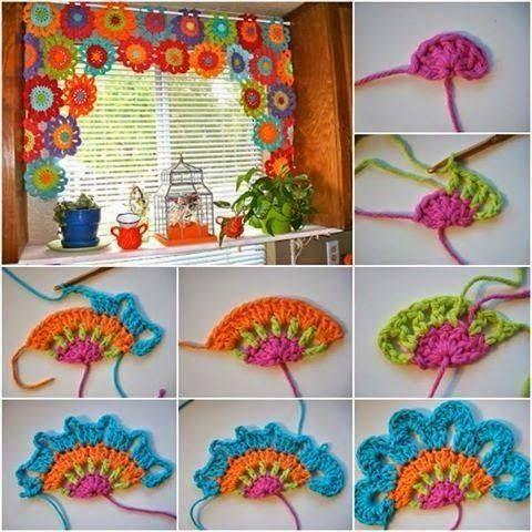 Quieres darle a tu cocina un toque colorido y hogareño, prueba con esta cortina tejida te enamorarás de ella