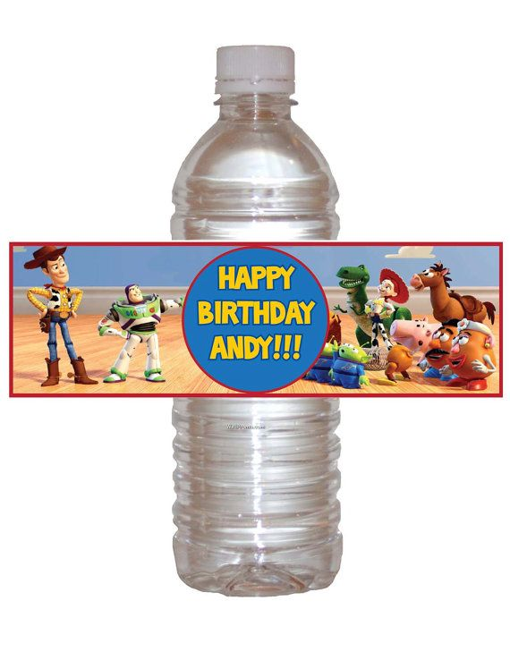 Printable toy story bottle water wrappers diy by for Diy mineral water bottle