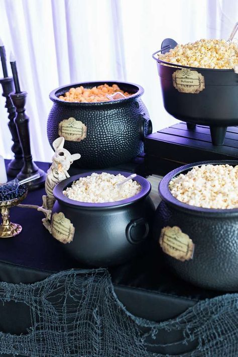 Popcorn bar at a witches Halloween party! See more party planning ideas at http://CatchMyParty.com!