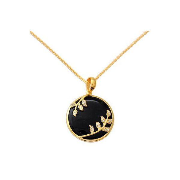 NOVICA Black Onyx and CZ Handcrafted Gold Vermeil Necklace (1.090 ARS) ❤ liked on Polyvore featuring jewelry, necklaces, black, clothing & accessories, pendant, black onyx necklace, cubic zirconia pendant necklace, cz pendant, cz jewelry and leaf necklace