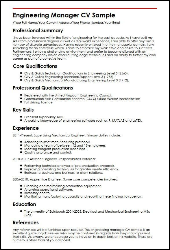 engineering manager cv sample  myperfectcv  project