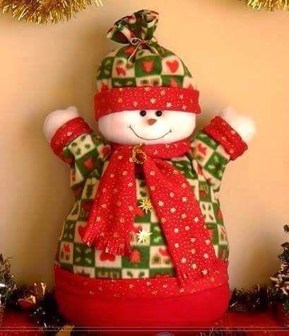 Muñecos de Nieve Grandes con Molde y Patrones gratis