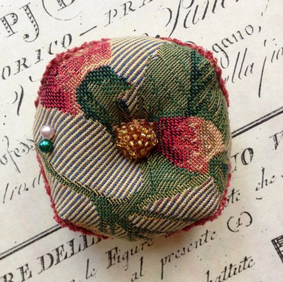 Biscornu Pincushion ...Tapestry Fabric by Garnetfleuri on Etsy