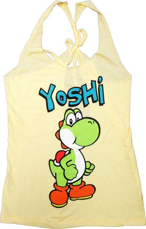 Nintendo Yoshi Yellow Thin-Cut Tank Top With Open Braided Racerback Back $17.95