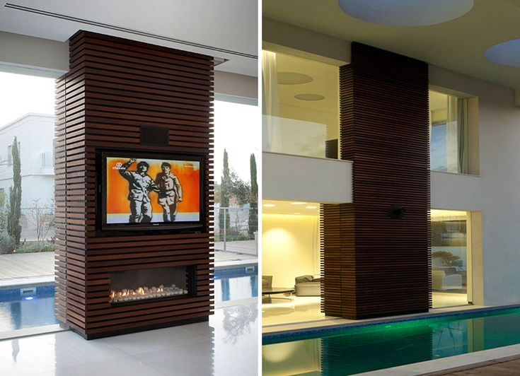 Design Idea - The wood slats on this TV and fireplace surround follow through from the interior to the exterior.