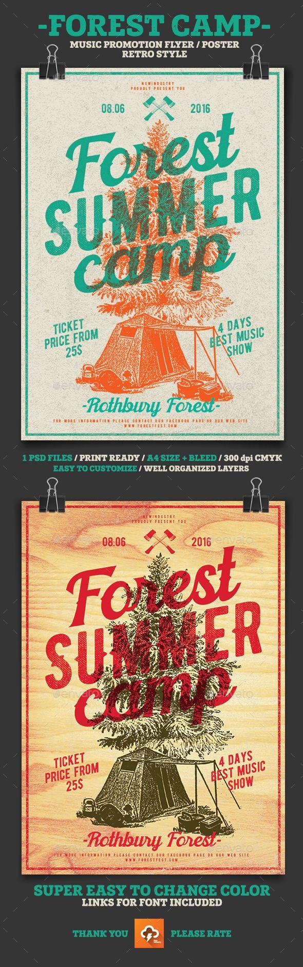 Forest Summer Camp Flyer Template PSD. Download here: http://graphicriver.net/item/forest-summer-camp/15064419?ref=ksioks
