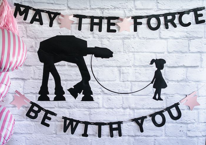 "Girly ""May the Force be with you"" backdrop from a Pink and Sparkly Star Wars Party on Kara's Party Ideas 