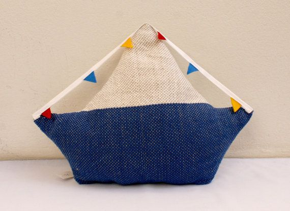 sailing boat pillow, softie, plush