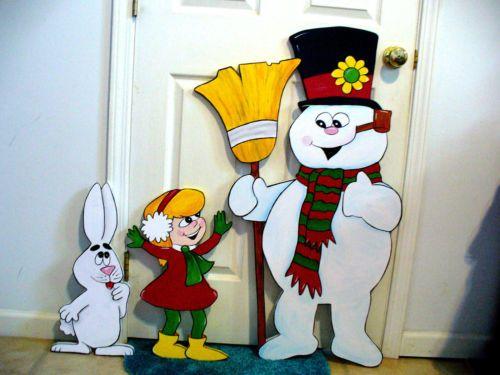 NEW 3-PIECE SET. FROSTY THE SNOWMAN , GIRL, RABBIT, CHRISTMAS YARD ART