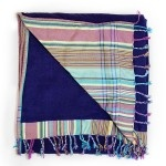 Purple Beach Towel with a backing of teal and purple striped cotton 'kikoy'. This one  is great for the guys.