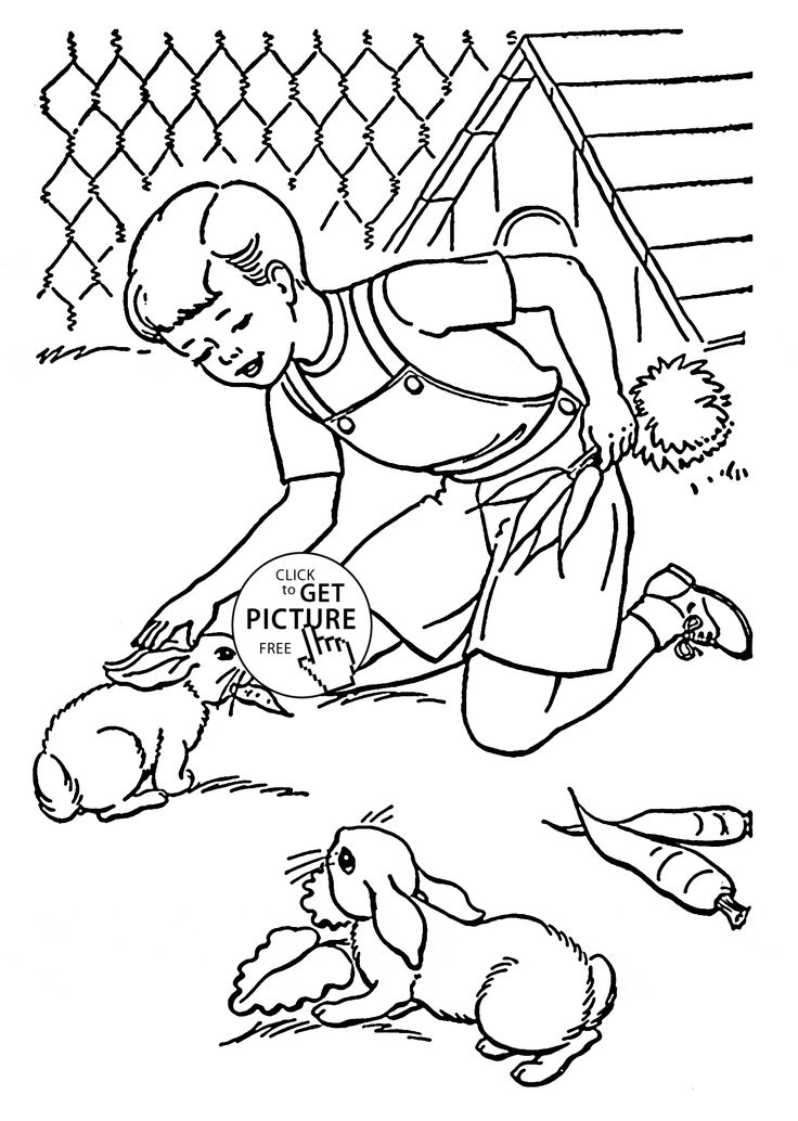 Pet Rabbits coloring page for kids, animal coloring pages