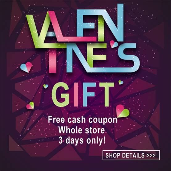 Valentine's gift of free cash coupon! Valid for products on the whole site! Everyone has a chance! Don't miss it, my dear friend! Form 21st January to 23rd January!  Only three days! Check all items here: http://www.romwe.com/