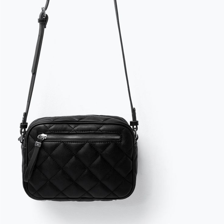 zara quilted messenger bag black