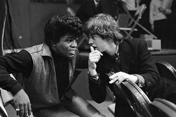 James Brown and Mick Jagger, 1964.James Of Arci, Music, James Brown, Jamesbrown, Rolls Stones, 1964, Rare Photos, People, Mick Jagger