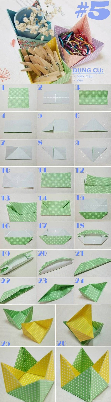 Gấp giấy thành đủ kiểu hộp đựng đồ hữu ích 5