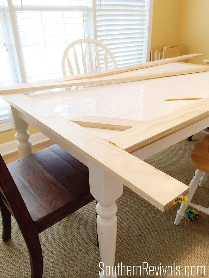 Tile Top Table Makeover | How We Updated a Tile Top Table with Wood SouthernRevivals.com #tablemakeover