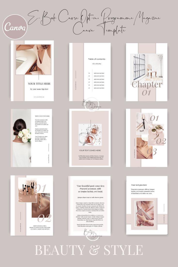 Beauty Ebook Canva Template For Luxury Brands Entrepreneurs Bloggers Lead Magnet Opt In Freebie Templates Femine Blush E Book Ebook Design Book Design Layout Instagram Template Design