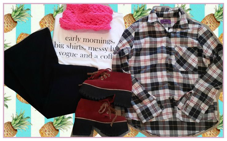 ♡ Look de Viernes ♡ Ideal para salir a pasear de la manera mas canchera! Camisa Escocesa + Remera Early Mornings + Jegging Oxford Negro + Gipsy Boots Bordeaux y Cuello Rosa de Lana.