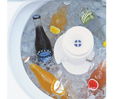 Washing Machine as Drink Chiller Fill the tub with ice and extra bottles of beer and wine so you don't have to empty the refrigerator to make room for party supplies. Bonus: The melted ice neatly drains right through the machine's holes.