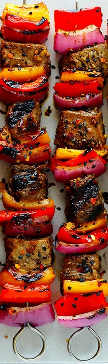 nice Korean Steak Kabobs ~ Made with a super-easy, flavorful marinade, and grilled to...byDiMagio