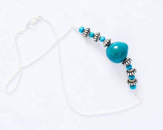 Teal Bead Kazuri Necklace  Kazuri Bead Upcycled Necklace