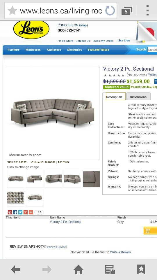 Leons - victory 2pc sectional