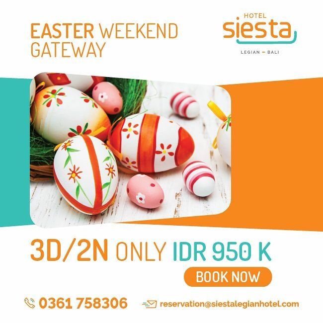 Siesta Legian Hotel is located in the vibrant Legian, Kuta, where you can get the sun, the beach and the crowd altogether. Enjoy our special Easter Package with family or group of friends....,  Visit www.siestalegianhotel.com