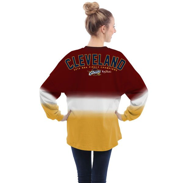 Cleveland Cavaliers Women's 2016 NBA Finals Champions Spirit Jersey Long Sleeve T-Shirt - Burgundy