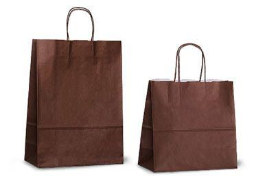 Шоколадные (темно-коричневые) бумажные пакеты из крафт-бумаги с кручеными бумажными ручками