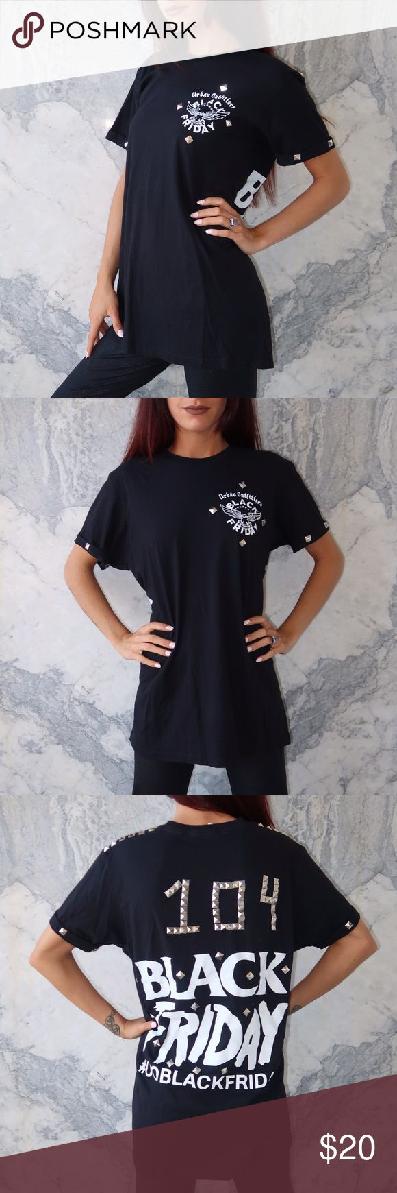 Urban Outfitters Black Friday Studded T Shirt PRE LOVED Urban Outfitters unisex Black Friday large t shirt with pyramid stud details. In good condition. Shows some signs of wear some of the studs are coming loose. Urban Outfitters Tops Tees - Short Sleeve