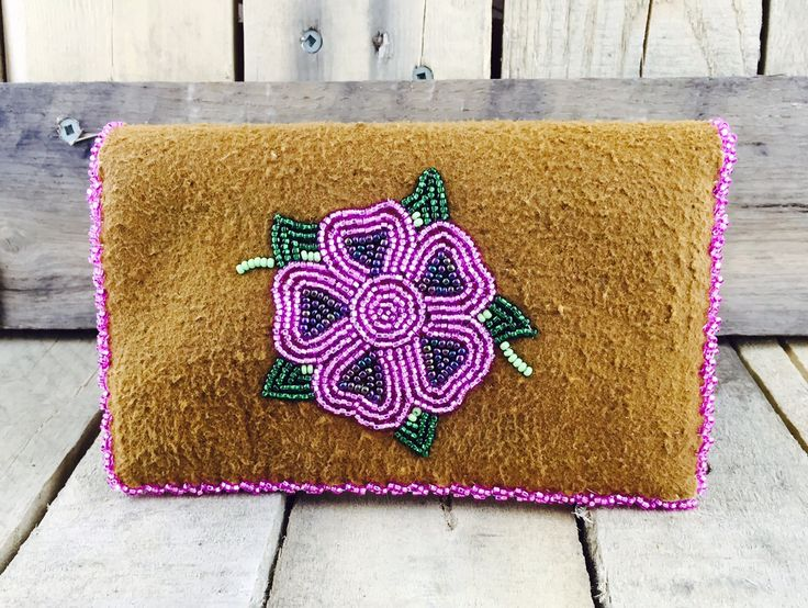 Iphone and card holder with beaded pink flower and trim. Holds up to iPhone 6 #Esawa #Handmade #Pinkflower #Iphonecase