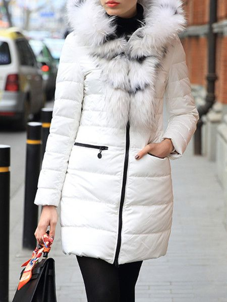 Paneled White Goose Feather Down Coat