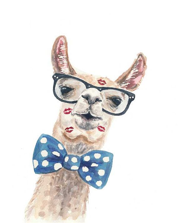 Llama PRINT  Watercolor Painting Hipster Glasses от WaterInMyPaint