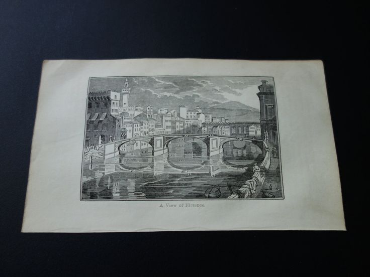 Florence Italy panorama 1839 small antique print with old picture of Florence cityscape river bridge Firenze Italia 4x7 inch by DecorativePrints on Etsy https://www.etsy.com/listing/218452463/florence-italy-panorama-1839-small