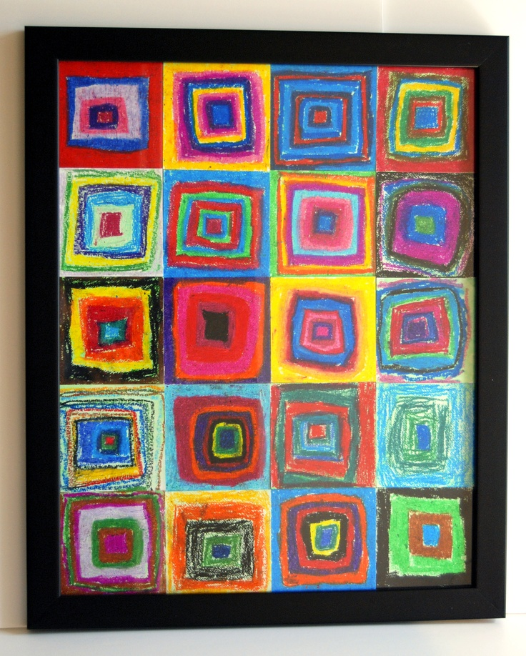 Squares with pastels; 3rd graders; Silent Auction Spring 2011