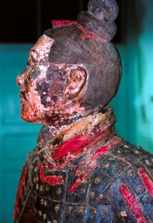 Chinese Purple on a Terracotta Warrior. One of only two chemical (non-organic) pigments until roughly 2000 years ago.