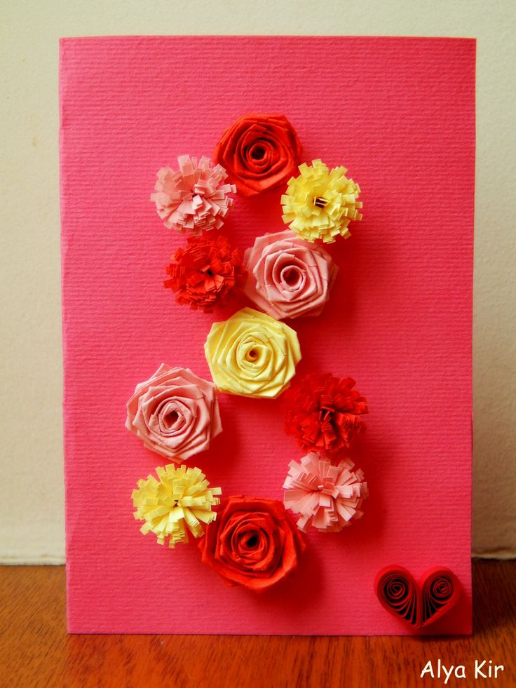 card, 8 March. flowers, roses