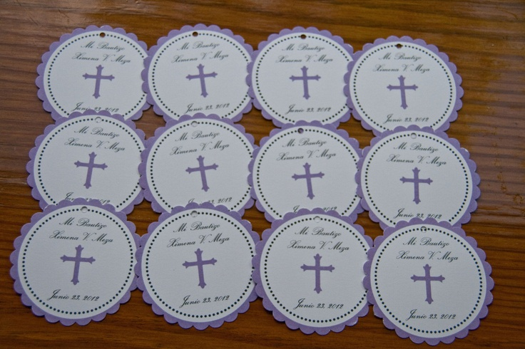 Baptism Christening Favor Tags Communion Party Favor Tags Lavender set of 12 by Belleza e Luce. $5.00, via Etsy.