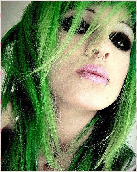 image Bluehaired punk hippie chick first time tickle