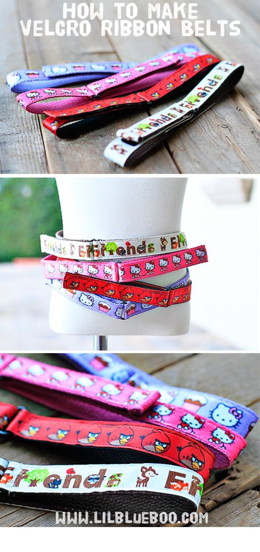 How to make ribbon velcro belts via lilblueboo.com  Emma would love these!  I am thinking birthday present.